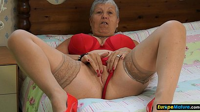 Gray granny w red underwear
