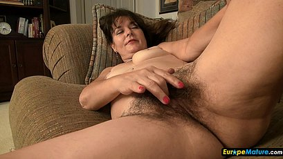Old hairy brunette and toy