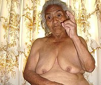 Chubby old woman with saggy tits