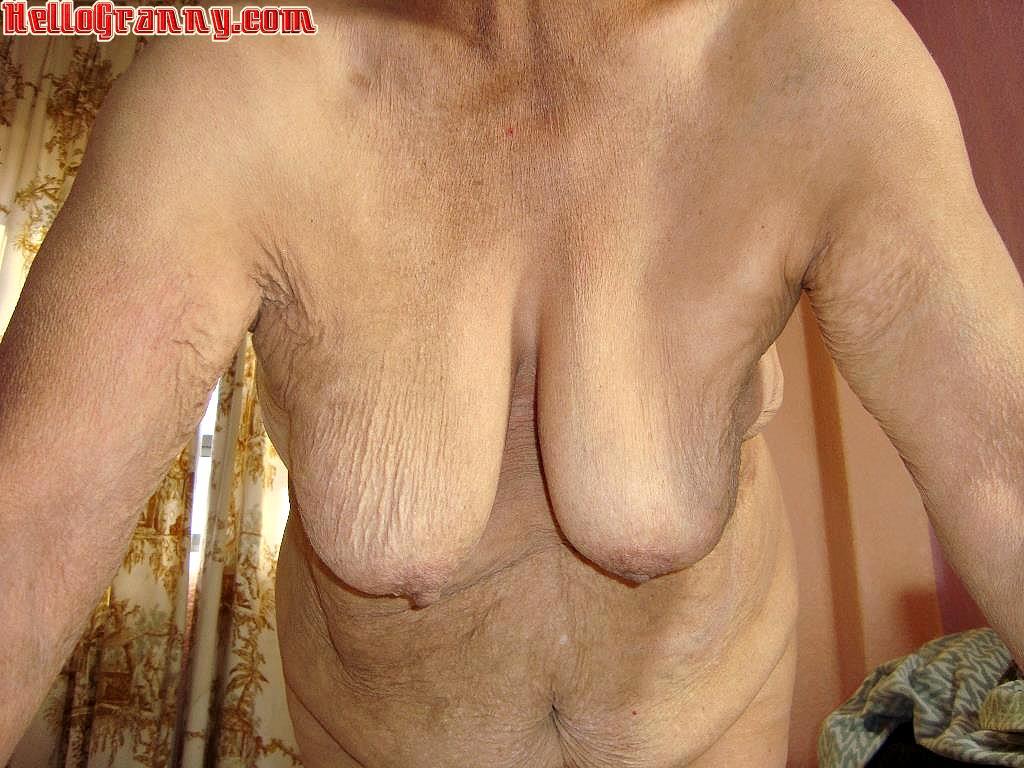 Old wrinkled granny boobs