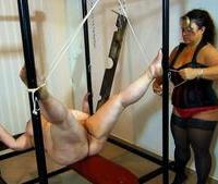 Fat older woman getting her pussy clamped in bdsm session from Old Nanny