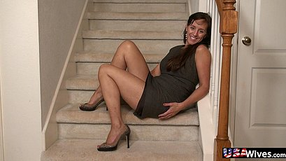 Mature toying on the stairway